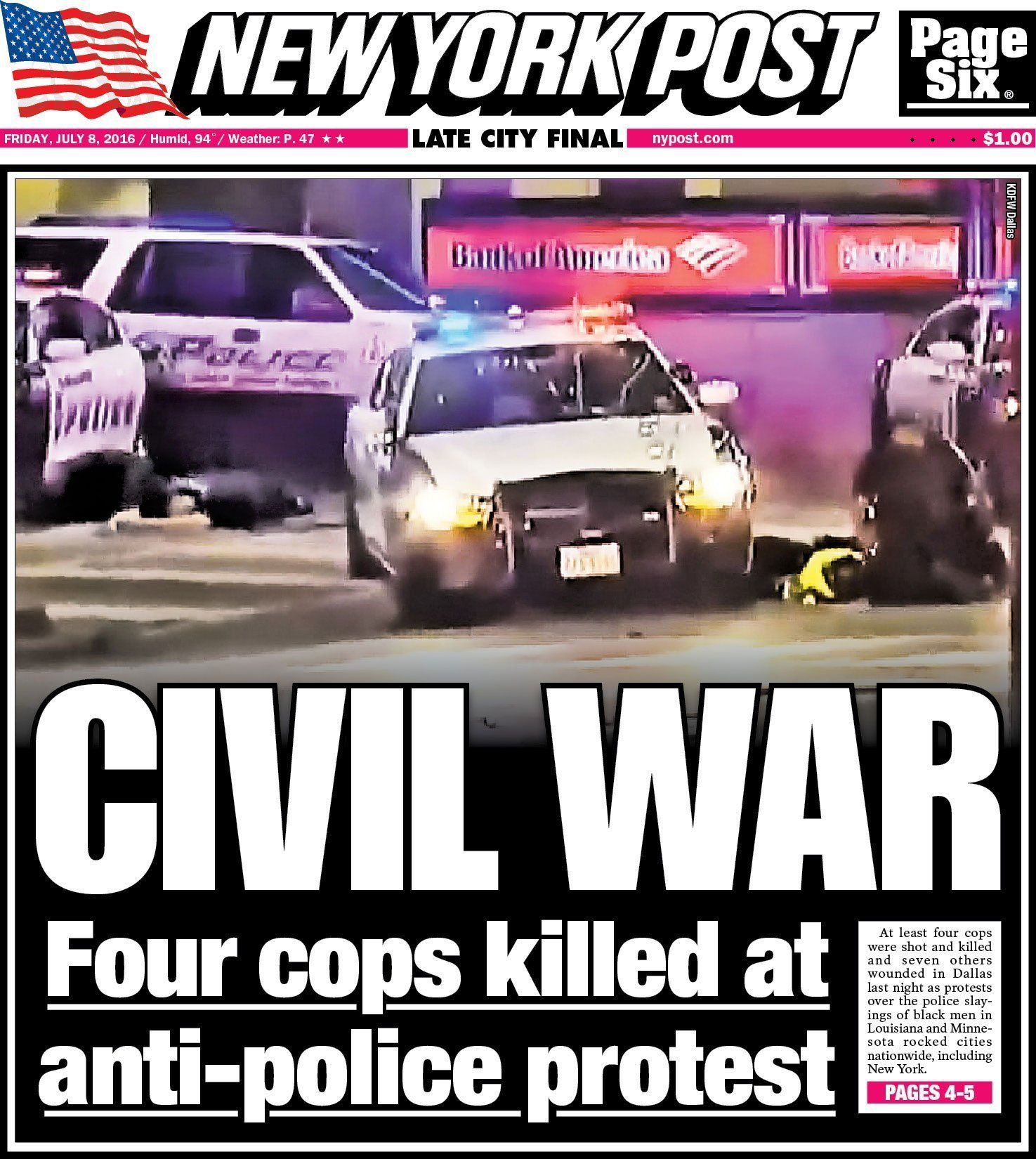 "The New York Post recklessly dubbed the Dallas shooting as part of a ""civil war."""