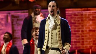 NEW YORK - JUNE 12: Lin-Manuel Miranda and the cast of Hamilton at THE 70TH ANNUAL TONY AWARDS, live from the Beacon Theatre in New York City, Sunday, June 12 (8:00-11:00 PM, live ET/ delayed PT) on the CBS Television Network. (Photo by John Paul Filo/CBS via Getty Images)