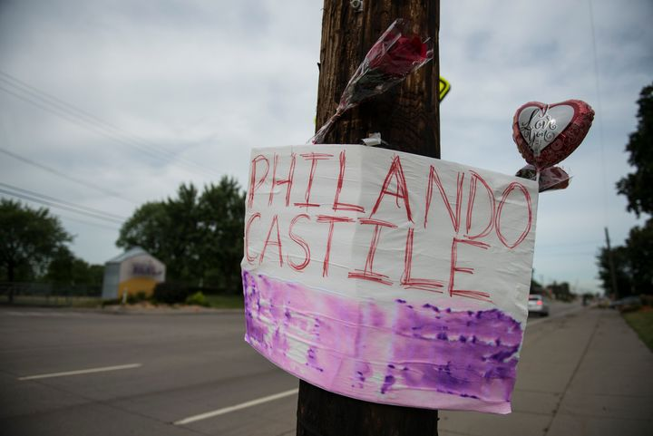 A memorial left for Philando in St. Paul, Minnesota. Castile was shot and killed last night by a police officer in Falcon Hei