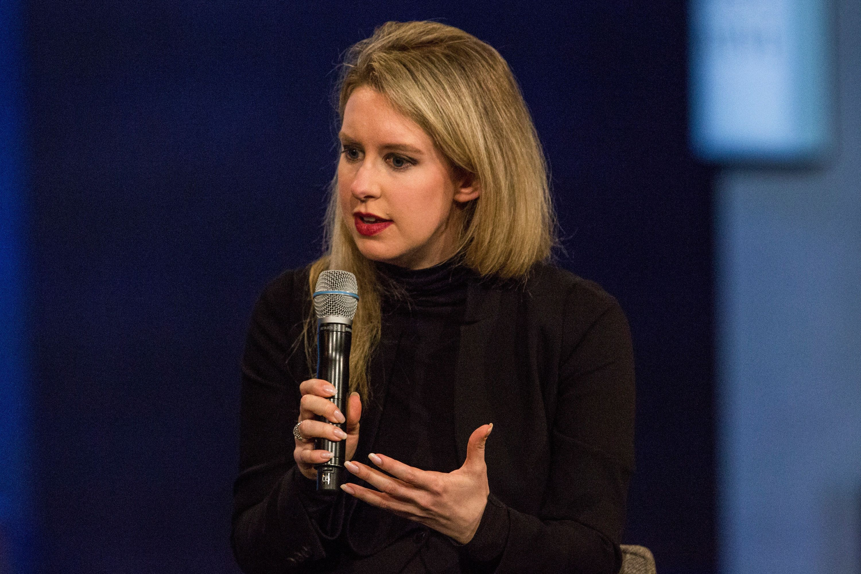 NEW YORK, NY - SEPTEMBER 29:  Elizabeth Holmes, founder and CEO of Theranos, speaks at the Clinton Global Initiative's closing session on September 29, 2015 in New York City. The Clinton Global Initiative, happening simultaneously with the United Nation's General Assembly, invites leaders from politics, business and culture to discuss world issues.  (Photo by Andrew Burton/Getty Images)