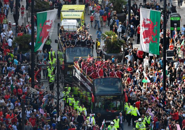 Wales Football squad head down St Mary's street on their bus parade around