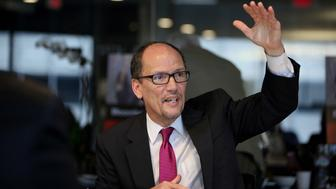 Thomas 'Tom' Perez, U.S. secretary of labor, speaks during an interview in Washington, D.C., U.S., on Thursday, Oct. 23, 2014. New Jersey Governor Chris Christie has 'got his head in the sand' when it comes to the plight of minimum-wage earners in his state, Perez said. Photographer: David Banks/Bloomberg via Getty Images