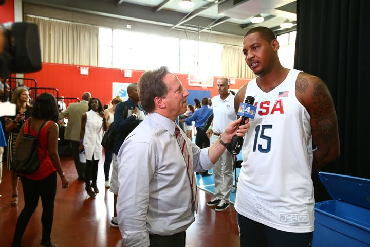 Carmelo Anthony is interviewed during a press conference at Dunleavy Milbank Center on June 27, 2016.