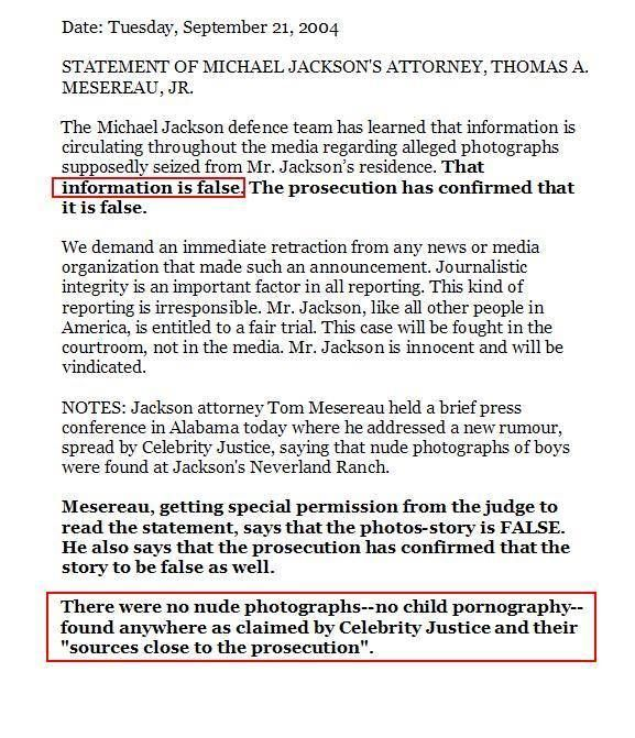 Both Thomas Mesereau's sworn statement and Jackson's 2004 press statement were in reaction to items leaked to the media from