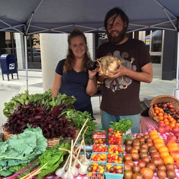 "Farmers with ""ugly"" produce at an event by Ugly Food of the North."