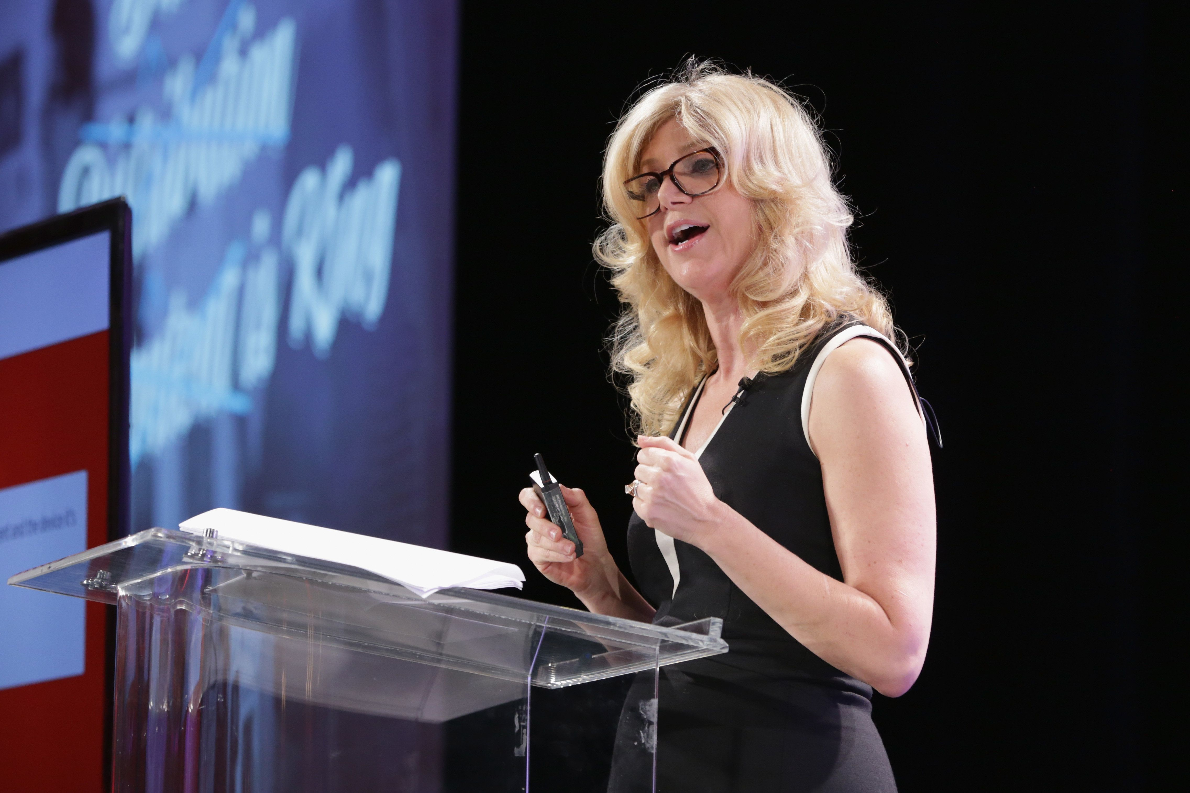 BEVERLY HILLS, CA - OCTOBER 05:  Gail Becker, President of Strategic Partnerships and Global Integration at Edelman speaks onstage during TheWrap's 6th Annual TheGrill at Montage Beverly Hills on October 5, 2015 in Beverly Hills, California.  (Photo by Alison Buck/Getty Images for TheWrap)