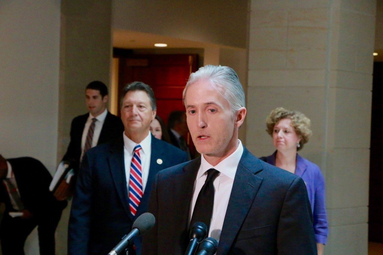 Rep. Trey Gowdy (R-S.C.) addresses reporters after the final, secret meeting of the Select Committee on Benghazi.