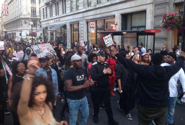 Black Lives Matter March In Regent Street, London, Sees Hundreds Demonstrate After US