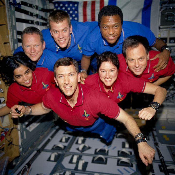 <em>The crew of space shuttle Columbia poses for an in-flight portrait. This photograph was processed from a roll of film recovered among the debris.</em>