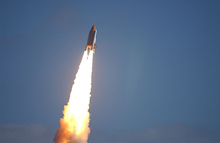 <em>Space shuttle Columbia launches into space for the final time on January 16, 2003.</em>