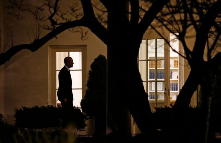 Obama returns to the White House after a day trip to Iowa in January last year. The president's evening hours are the ones he