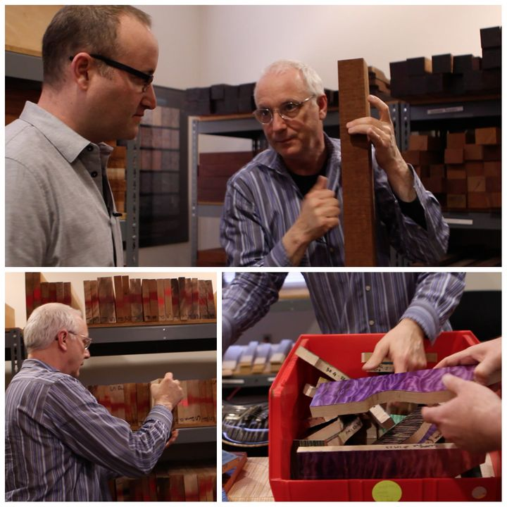 Brett Berhoff and Paul Reed Smith starting the build process on a PRS Private Stock Guitar
