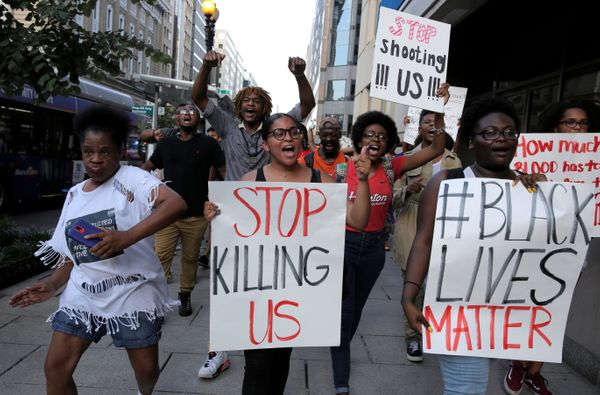Demonstrators with Black Lives Matter march during a protest in Washington, U.S., July 8, 2016.