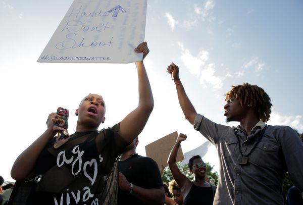 Demonstrators with Black Lives Matter rally during a protest in front of the White House in Washington, U.S., July 8, 2016.&n