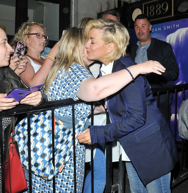 Sheridan was mobbed by fans as she left the