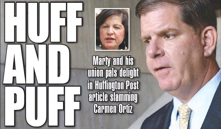 The Boston Herald focused on whether Boston Mayor Marty Walsh (D) was responsible for planting The Huffington Post's story on