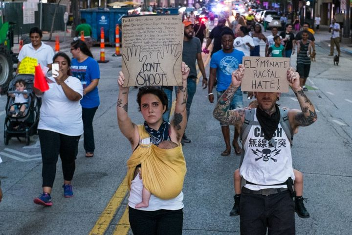 Robert Moore was taking pictures, such as this one, of the Black Lives Matter protest when the deadly gunfirebegan.