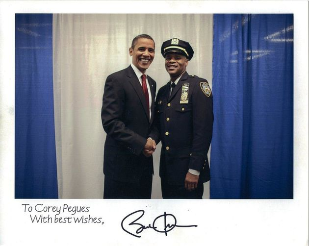 Corey Pegues poses with President Barack
