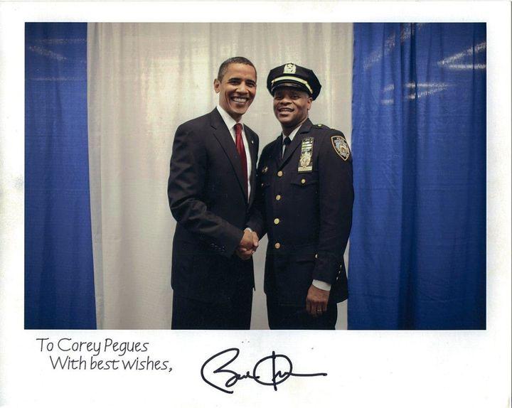 Corey Pegues poses with President Barack Obama.