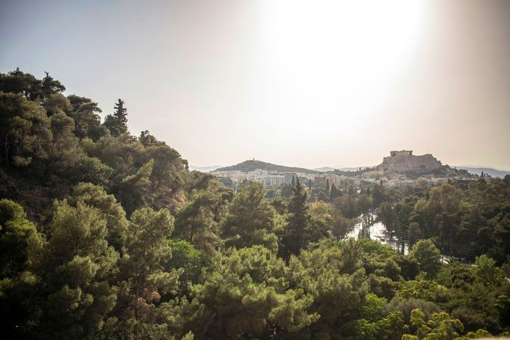 The Acropolis viewed from the historical Kallimarmaro stadium, the site of the first modern Olympics. This is an aspect of At