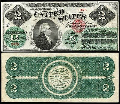 Alexander Hamilton's portrait appeared on the first $2 bill,<br>which was was issued in 1862 as a Legal Tender Note