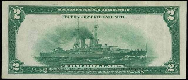 Issued in 1918, this $2 bill featured Thomas Jefferson <br>on its front and a World War I battleship on its back