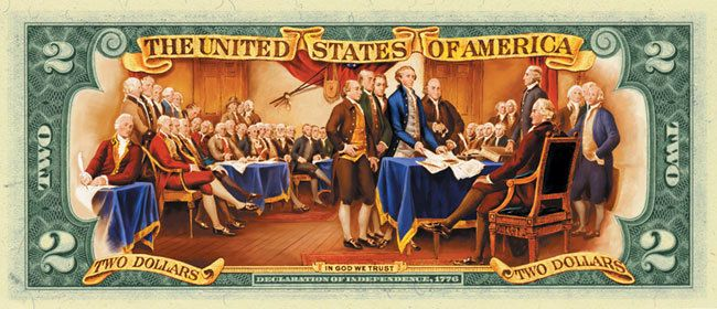 Starting in 1976, John Turnbull's famous 1819 painting entitled<br><strong><i>The Declaration of Independence</i></strong> re