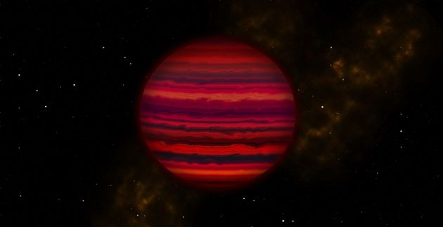 This artist's conception shows how WISE 0855 might appear if viewed up close in infrared light. The brown...