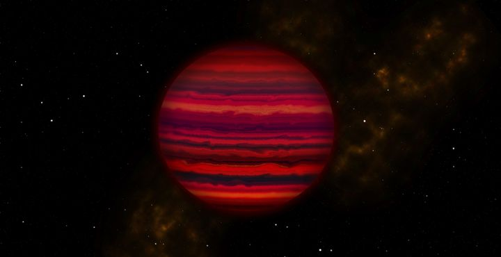 This artist's conception shows how WISE 0855 might appear if viewed up close in infrared light. The brown dwarf was discovere