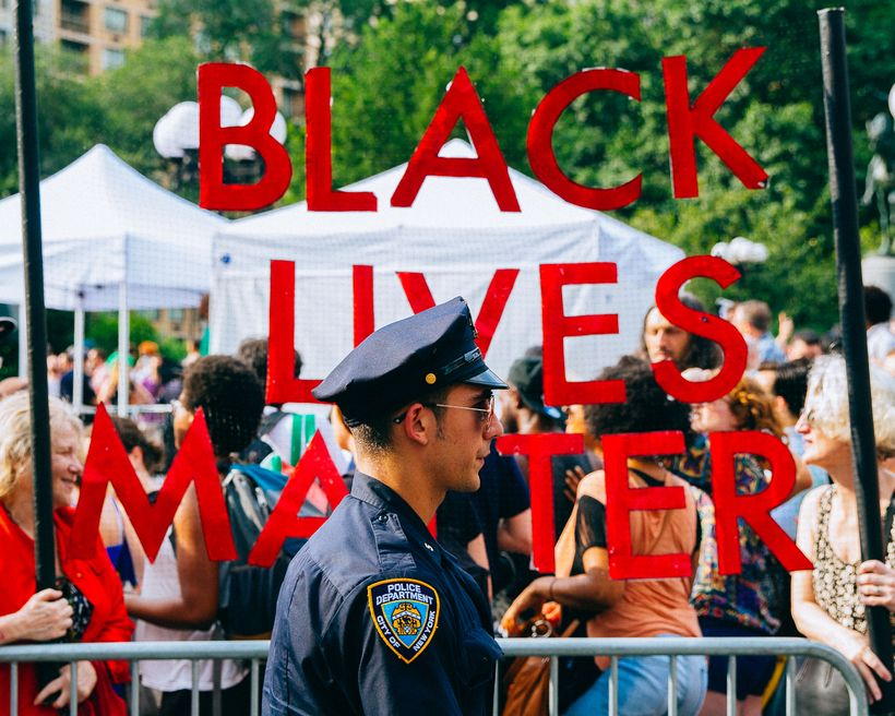 New York City police officer patrols a protest on July 7, 2016