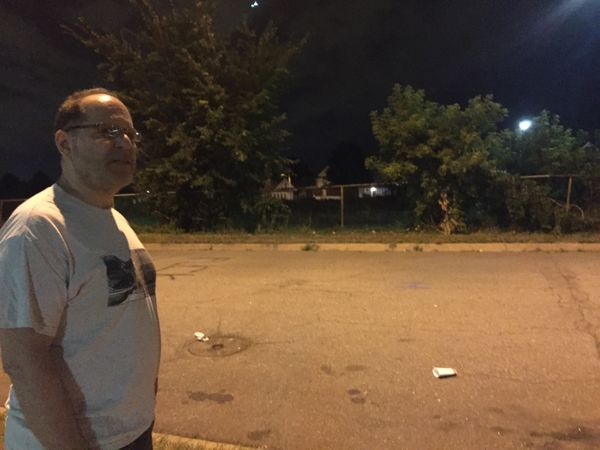 """St. Paul resident Tom Goldstein, 59,was hit with a marking roundby police: """"I just came down here to be a legal o"""