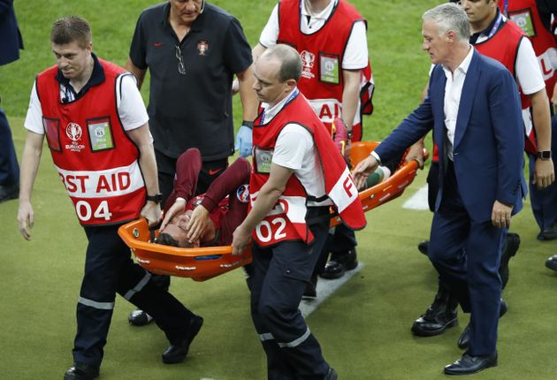 Cristiano Ronaldo was in tears after a knee clash resulted in him being stretchered off the