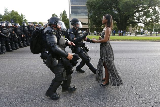 A woman's peaceful act of resistance during a protest in Baton Rouge, Louisiana, has become the symbol of...