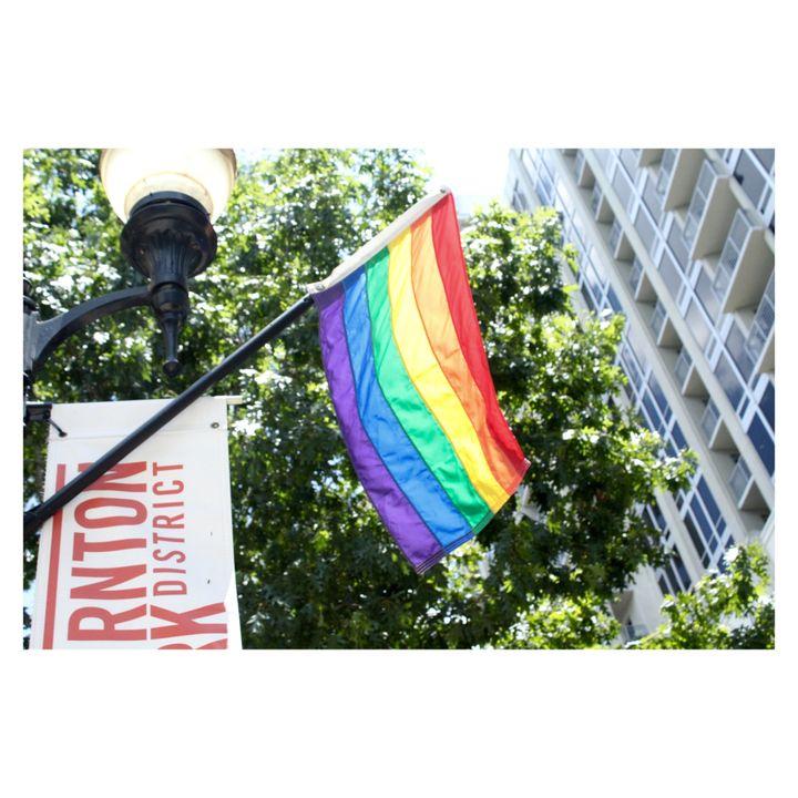 Rainbow flag flown in the Thornton Park District of Downtown Orlando, FL.