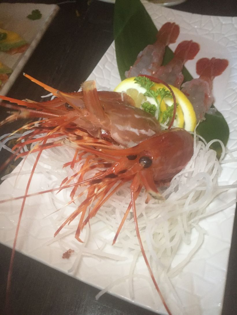 Live shrimp plate at Slow Fish