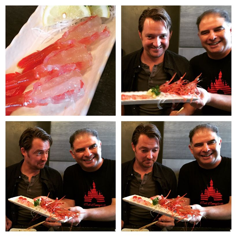 Chris Temple'smany expressions before eating live shrimp. Apparently I'm all smiles.