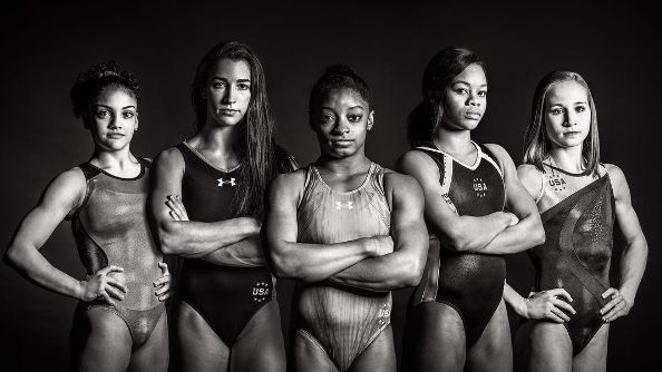 The five members of the 2016 U.S. Olympic gymnastics team.