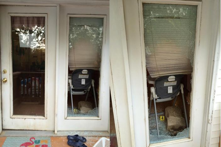 Photos released by the St. Louis County Police Department show the glass door whereGebhard allegedlyforced his wa