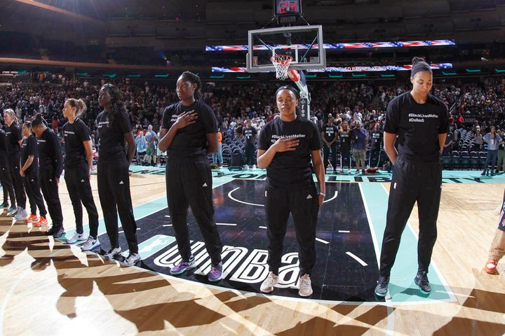 New York Liberty players wore shirts honoring last week's shootingvictims prior to their game Sunday at Madison Square
