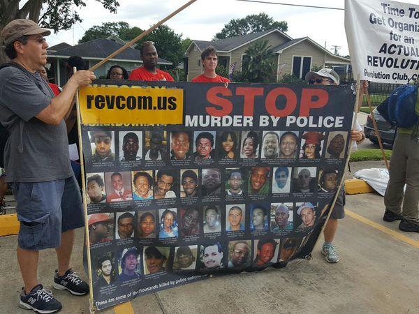 Protestors in Baton Rouge, Louisiana, on July 10.