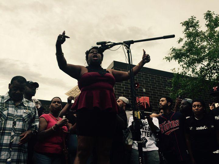 Valerie Castile speaking during a vigil for her son on July 7.