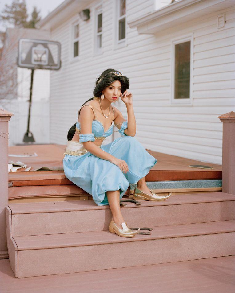 Princess Jasmine sitting on steps to Jacuzzi Hot Tub New Jersey