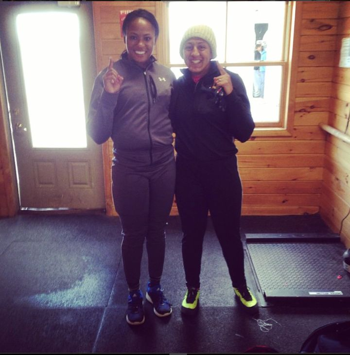 All smiles after my first bobsled ride with 2 x Olympic Medalist Elana Meyers Taylor