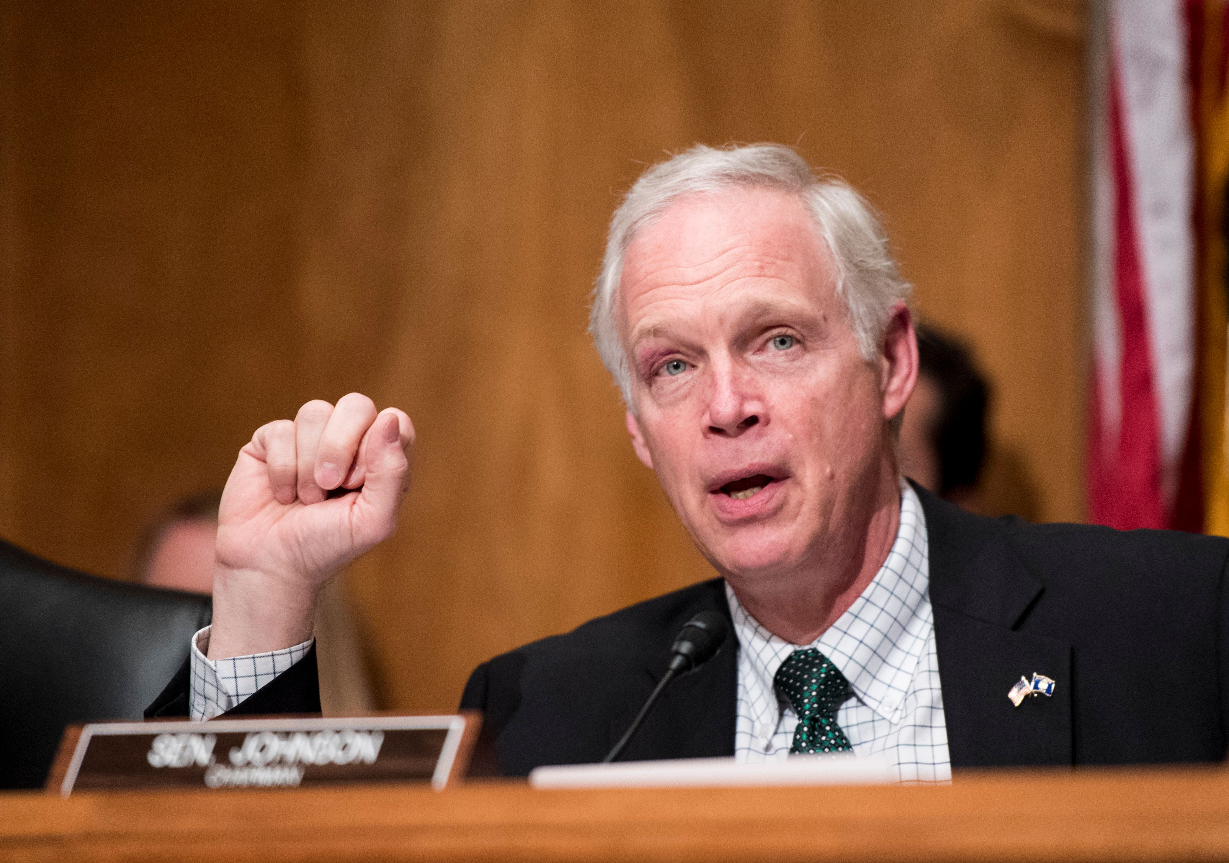 UNITED STATES - JUNE 7: Chairman Ron Johnson, R-Wis., speaks during the Senate Homeland Security and Governmental Affairs Committee hearing on 'Frustrated Travelers: Rethinking TSA Operations to Improve Passenger Screening and Address Threats to Aviation' on Tuesday, June 7, 2016. (Photo By Bill Clark/CQ Roll Call)