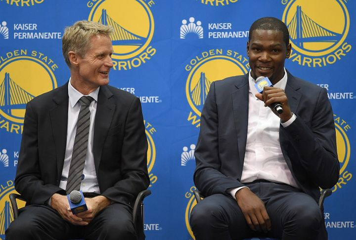 Steve Kerr and Kevin Durant have a lot to be smiling about these days.