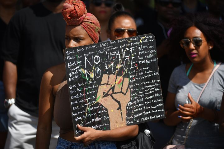 Hundreds gather in Washington, D.C., to protest and express outrage over Sterling's and Castile's deaths.