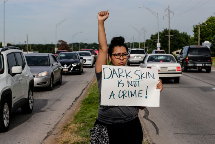 A protester in Omaha, Nebraska, on July 8.