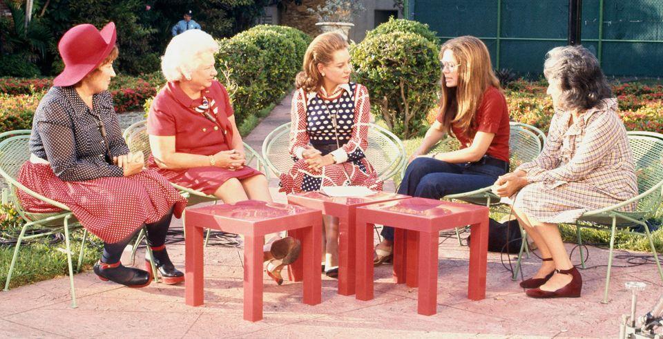 NBC News journalist Barbara Walters (center) talks with feminists Bella Abzug, Liz Carpenter, Gloria...