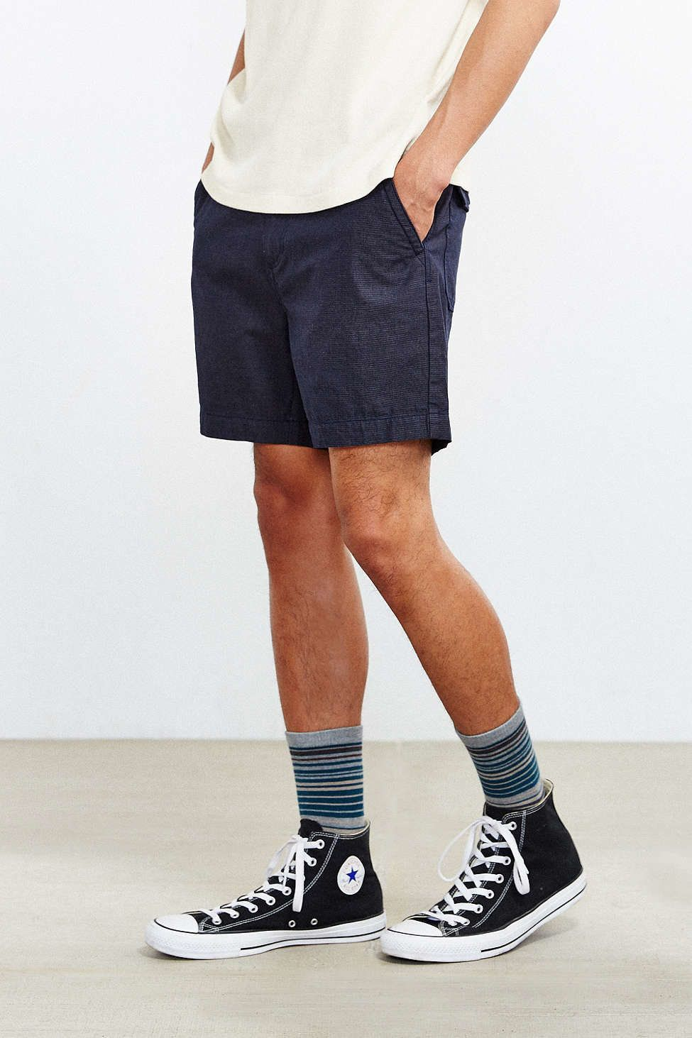 high top chuck taylors with shorts