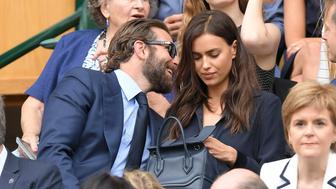 LONDON, ENGLAND - JULY 10:  Bradley Cooper and Irina Shayk attend the Men's Final of the Wimbledon Tennis Championships between Milos Raonic and Andy Murray at Wimbledon on July 10, 2016 in London, England.  (Photo by Karwai Tang/WireImage)